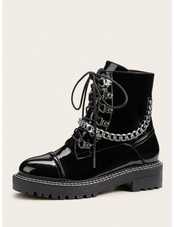 Chain Detail Lug Sole Combat Boots