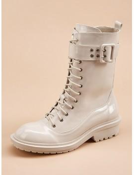 Buckle Decor Side Zip Combat Boots