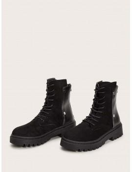Back Zip Lug Sole Lace-up Boots
