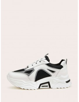 Contrast Lace-up Front Chunky Sole Sneakers