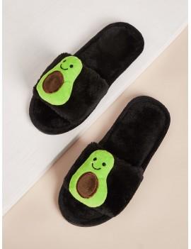 Avocado Decor Fluffy Slippers