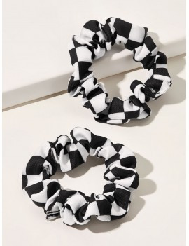 2pcs Plaid Pattern Pleated Scrunchie
