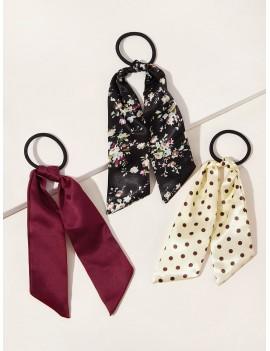 3pcs Ditsy Floral & Polka Dot Pattern Scrunchie Scarf