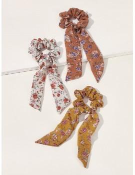 3pcs Ditsy Floral Pattern Scrunchie Scarf