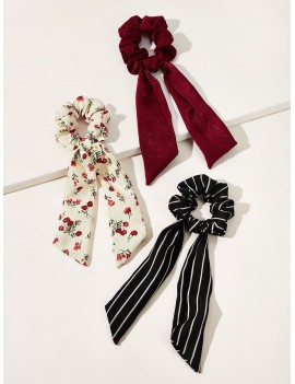 3pcs Striped & Ditsy Floral Pattern Scrunchie Scarf