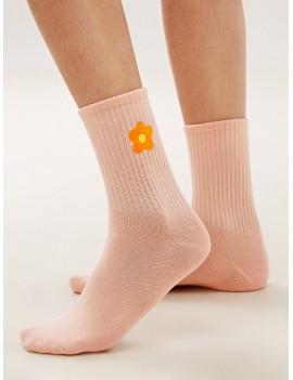 1pair Flower Print Socks