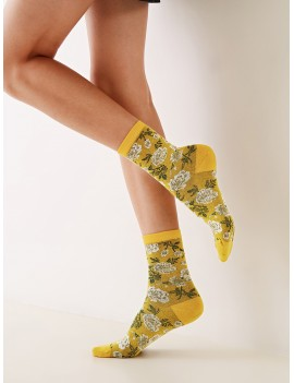 1pair Flower Pattern Socks