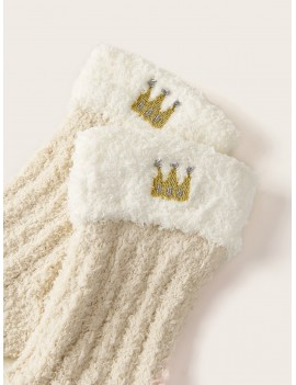 1pair Crown Embroidery Fluffy Socks