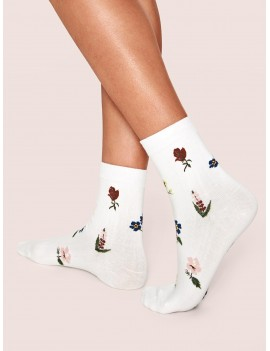 1pair Floral Graphic Socks