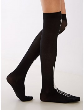 1pair Bone Graphic Knee Length Socks