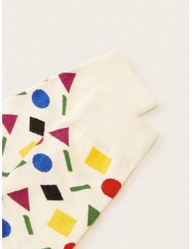 1pair Geometric Pattern Socks