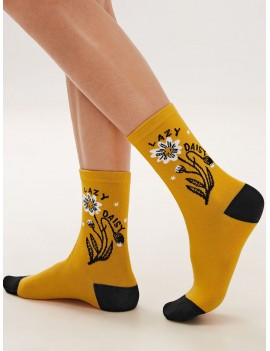 1pair Daisy Graphic Socks