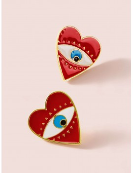 1pair Eye Engraved Heart Stud Earrings