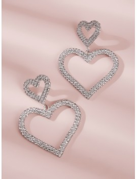 1pair Rhinestone Double Heart Dangle Earrings