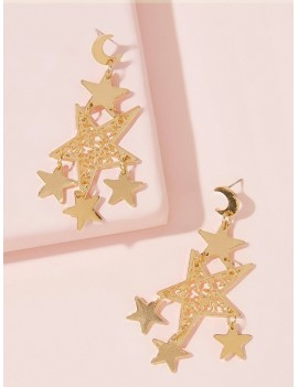 1pair Moon & Multi Star Dangle Earrings