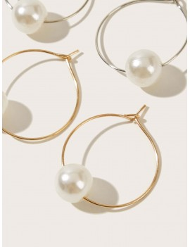 2pairs Faux Pearl Clip On Hoop Earrings