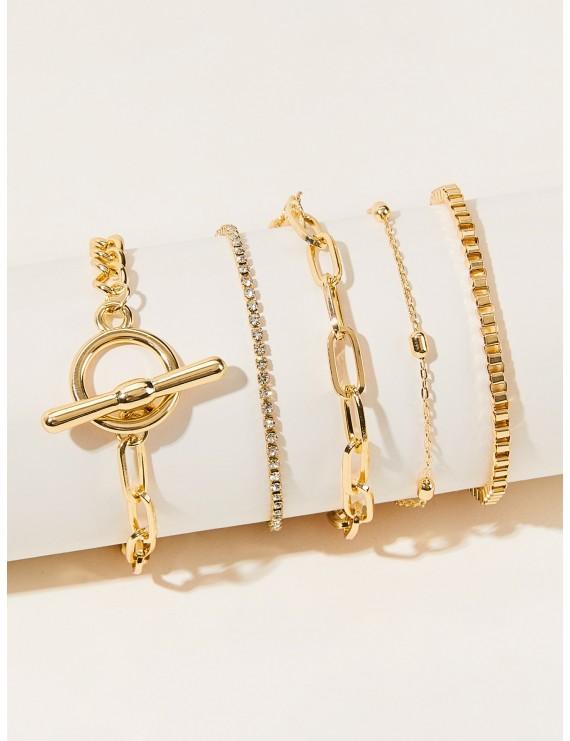 5pcs Rhinestone & Chain Link Bracelet
