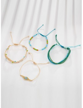 Bead Braided String Bracelet 4pcs
