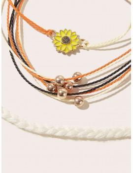 3pcs Sunflower Decor Braided Bracelet Set
