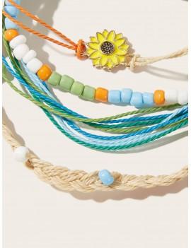 4pcs Sunflower Decor Braided Bracelet Set