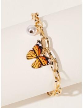 Butterfly & Faux Pearl Decor Bracelet
