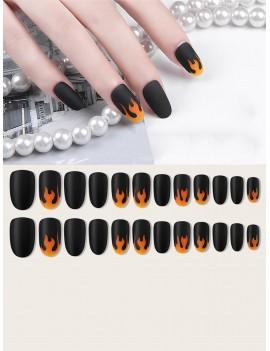 24pcs Fire Pattern Fake Nails