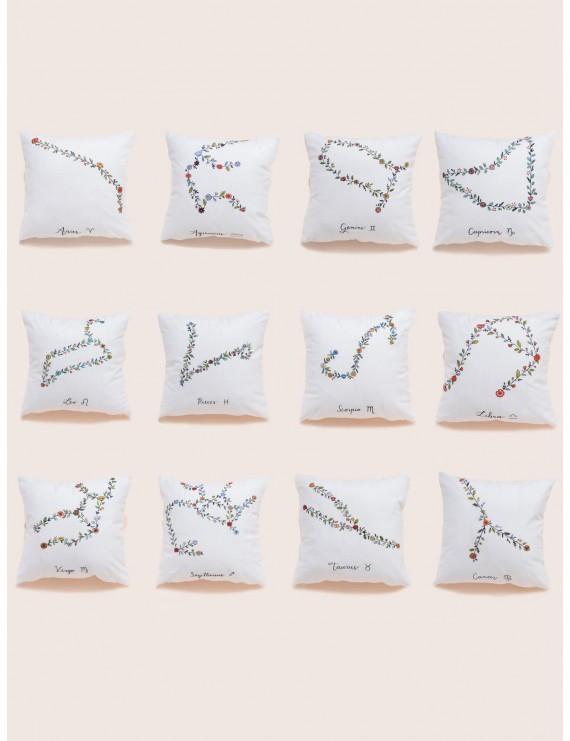1pc Floral Detail Zodiac Constellation Cushion Cover