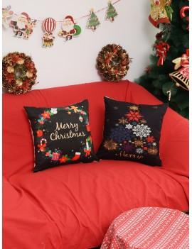 1pc Christmas Print Cushion Cover
