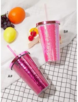 1pc Sequin Pattern Plastic Straw Bottle