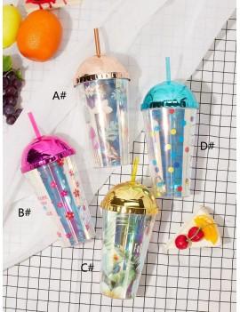 1pc Floral Pattern Laser Straw Bottle