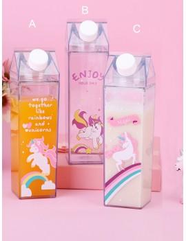 Unicorn Print Clear Water Bottle 1pc