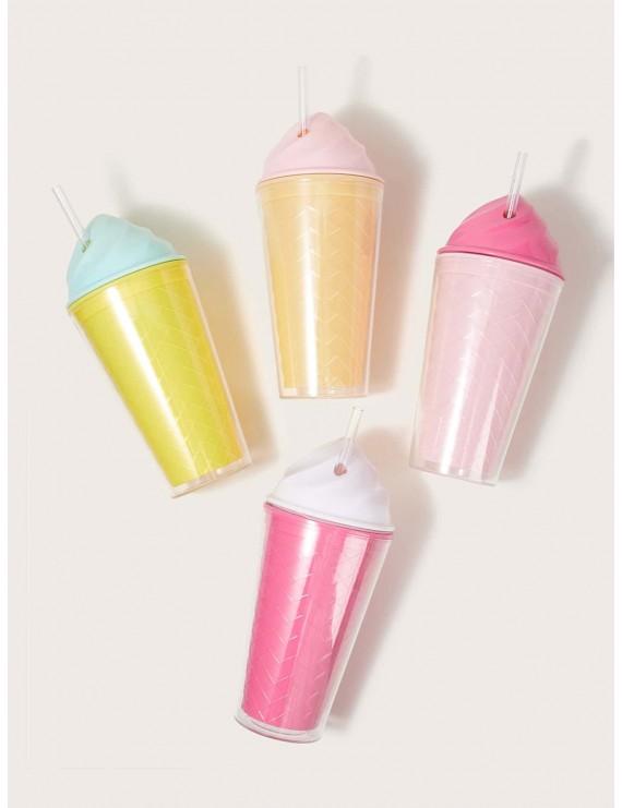 1pc Ice Cream Shaped Straw Bottle