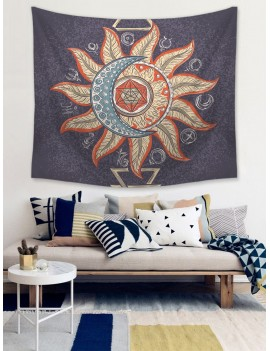 Abstract Flower & Moon Print Tapestry