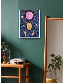 Abstract Figure & Planet Wall Print Without Frame