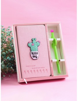 Cactus Decor Notebook With Gel Pen 2pcs