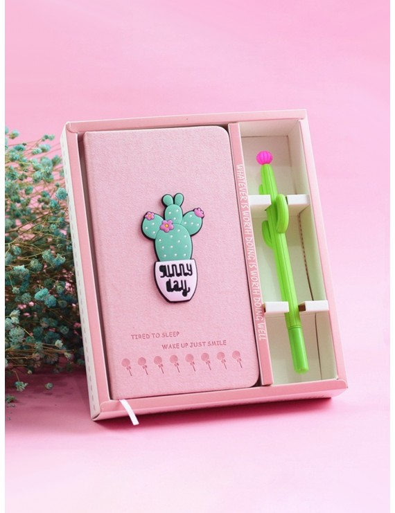 Cactus Decor Notebook With Gel Pen 2pcs