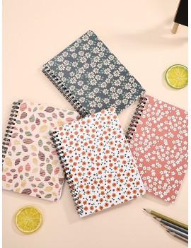 Floral Overlay Print Spiral Notebook 1pack