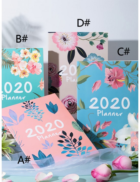 1pack Floral Print Cover Notebook