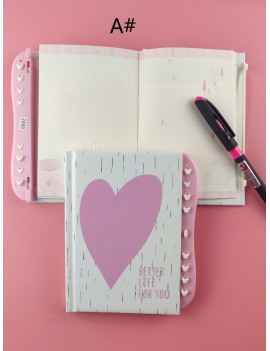 1pc Letter Graphic Password Lock Notebook