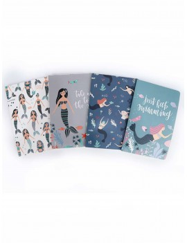 1pc Cartoon Mermaid Print Cover Notebook