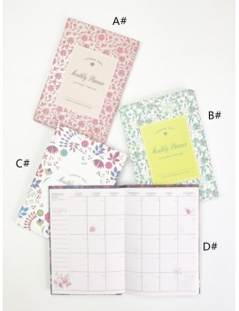 1pc Floral Print Cover Schedule Notebook