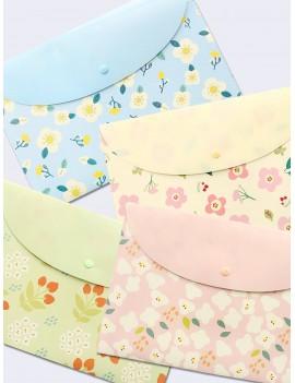 1pc Simple Flower Print File Bag