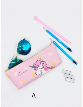 1pc Cartoon Unicorn Print Pencil Bag