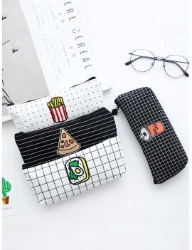 1pc Cute Food Print Pencil Bag
