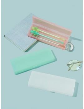 1pc Translucent Matte Texture Pencil Case