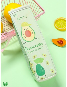 Cartoon Avocado Pattern Pencil Bag 1pc