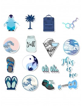 Blue Series Seaside Landscape Sticker 50pcs